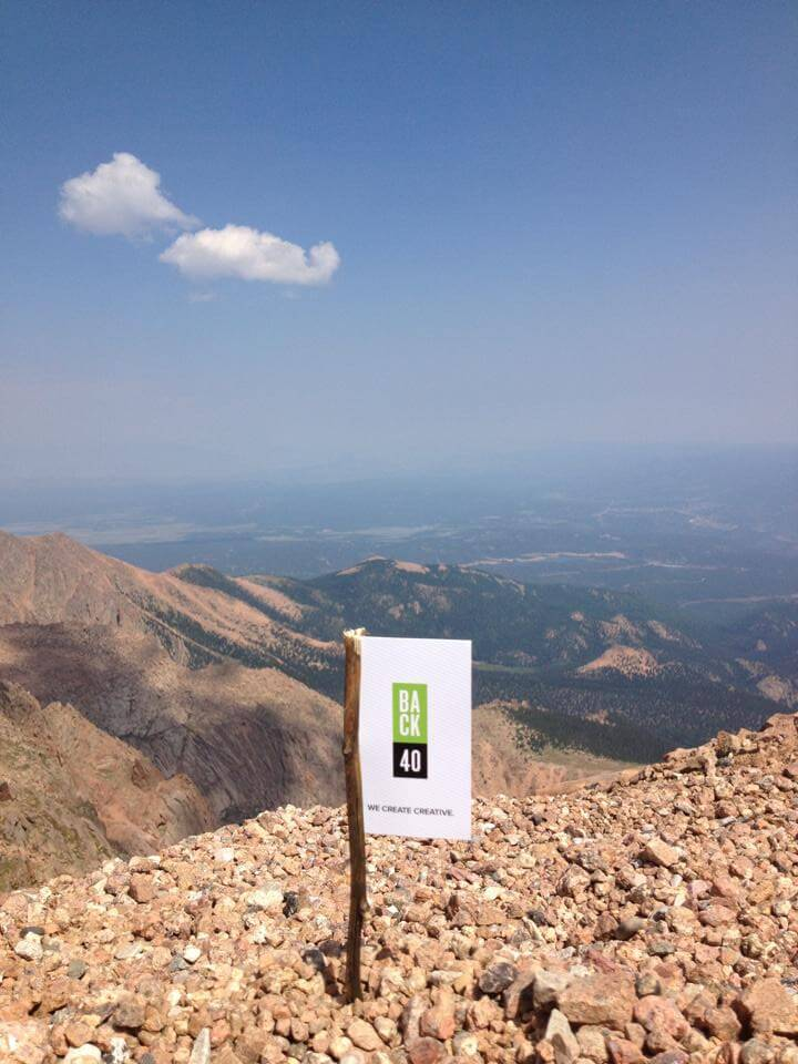 Back40 Design flag on Pikes Peak in Colorado