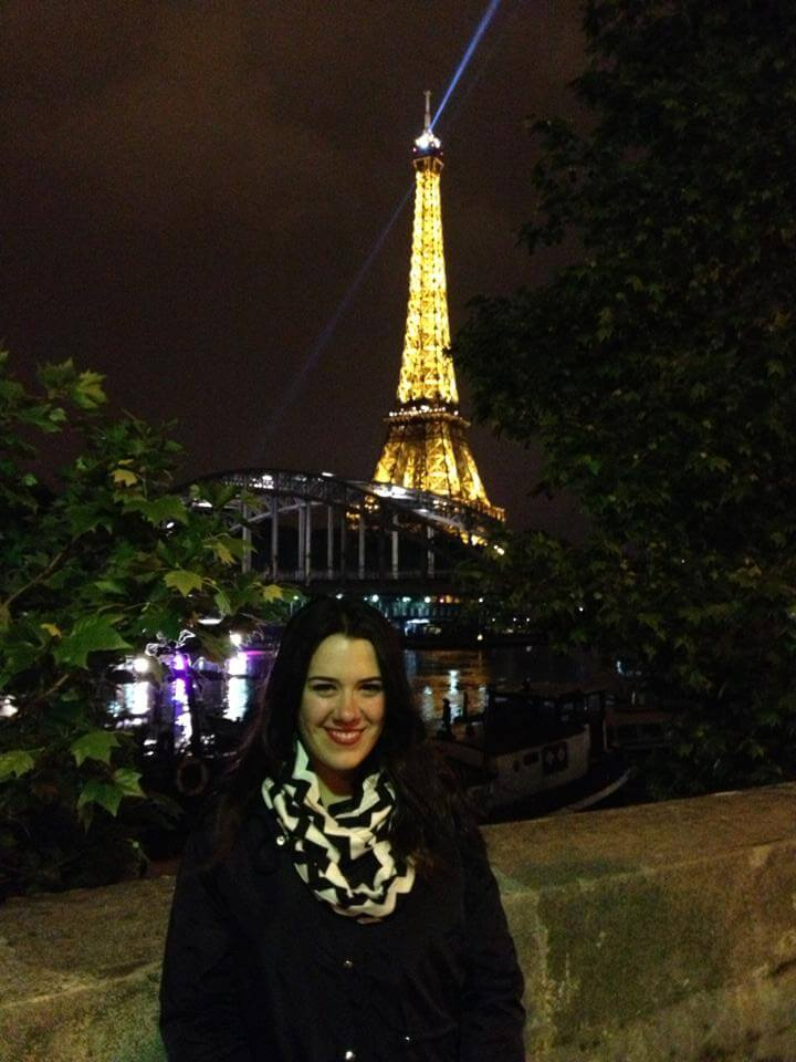 Maggie in front of Eiffel Tower