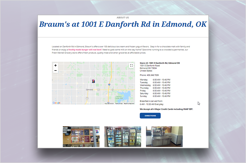 Back40 Case Study: Location Page Set Up - Braum's Location Page Screenshot