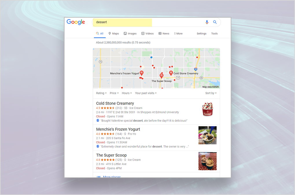 Back40 Case Study: Location Page Set Up - Screenshot of Dessert Local Search