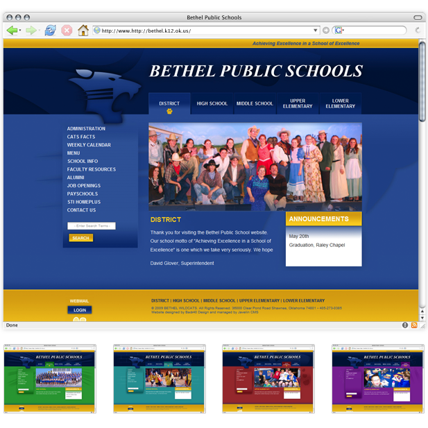 Bethel Public Schools website homepage