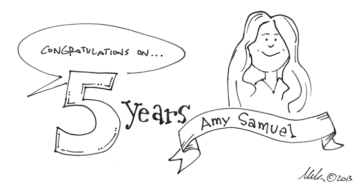 drawing congratulating Amy Samuel on five years