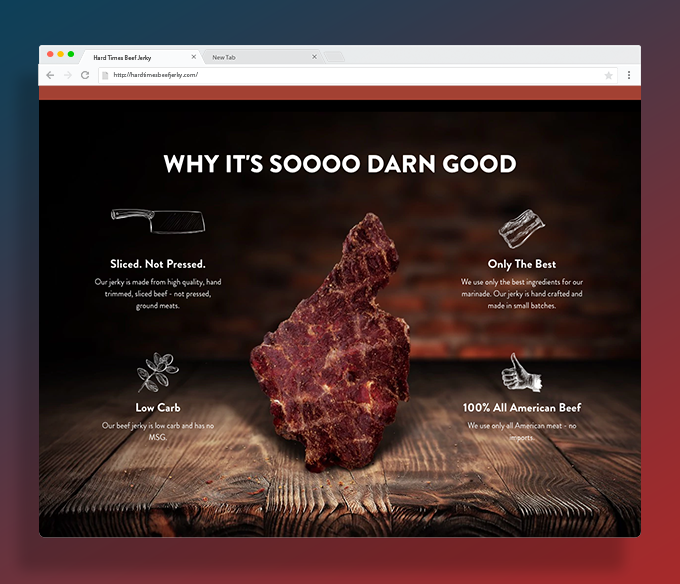 Detail webpage Hardtimes Beef Jerky redesign