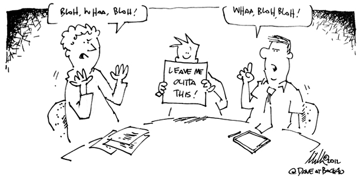 Client arguing cartoon
