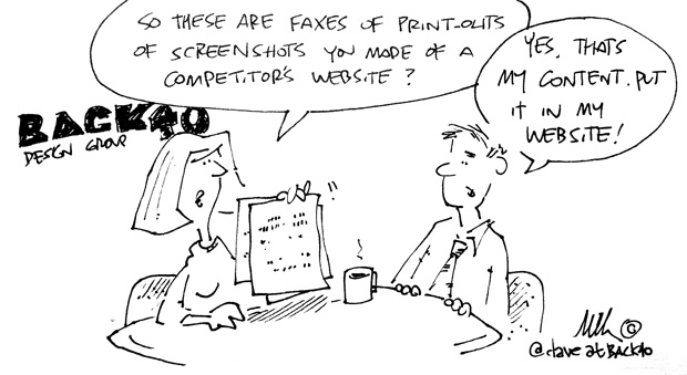 Website content cartoon