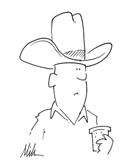 line drawing of a cowboy