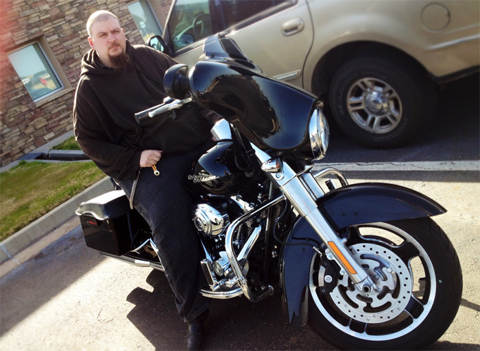 Jon Fields Back40 Design Web Application Programmer on his motorcycle
