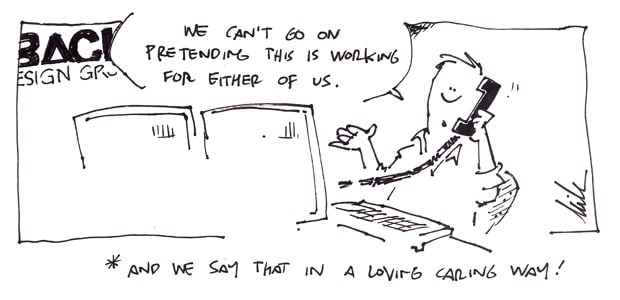 Web designer talking to client