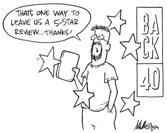 """""""That's One Way to Leave Us A 5-Star Review... Thanks!"""" Cartoon"""