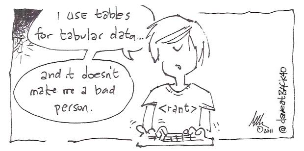 web design tabular data cartoon