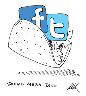 a taco with facebook and twitter icons in it