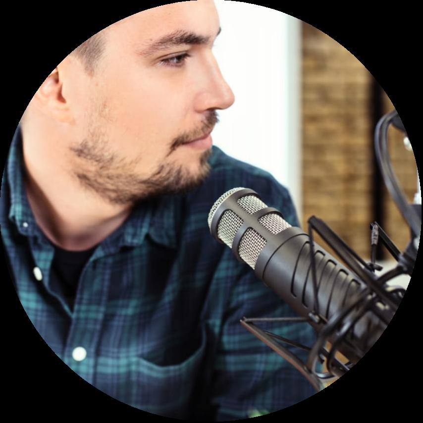 man recording radio spot